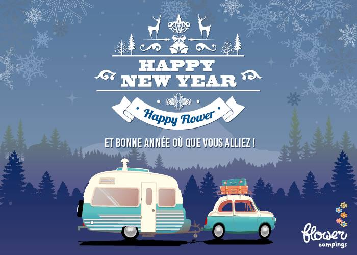 happy new year flower camping l'air du lac