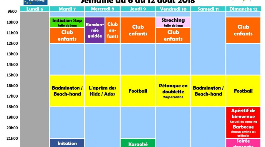 Planning animations semaine 32
