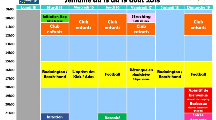 Planning animations semaine 33
