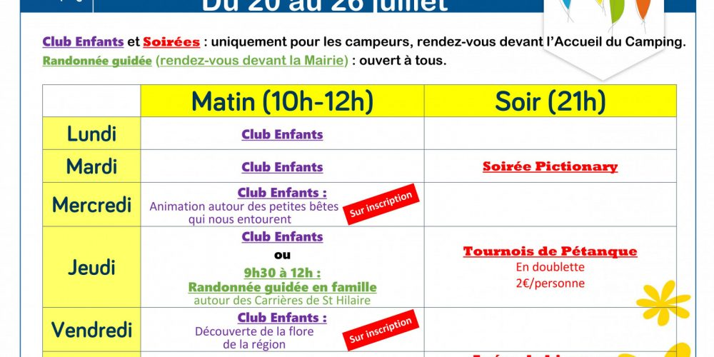 L'Air du Lac Planning animations S30